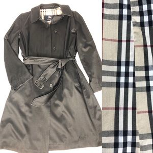 Burberry London Black Belted Trench Coat size 6